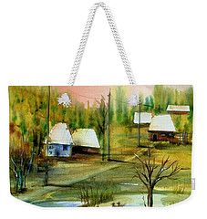 Sleepy Village Weekender Tote Bag