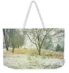 Weekender Tote Bag featuring the digital art Snowy Winter Morning by Randy Steele