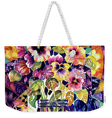 Stained Glass Pansies Weekender Tote Bag