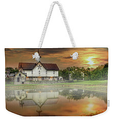Weekender Tote Bag featuring the mixed media Star Barn Sunrise by Lori Deiter