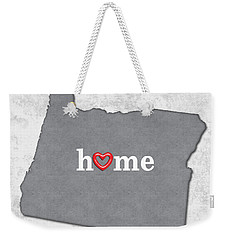 State Map Outline Oregon With Heart In Home Weekender Tote Bag