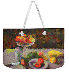 Weekender Tote Bag featuring the photograph Still Life by Vladimir Kholostykh