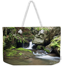 Weekender Tote Bag featuring the photograph Stone Guardian Of The Waterfalls - Bizarre Boulder On The Bank by Michal Boubin