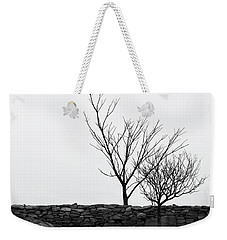 Weekender Tote Bag featuring the photograph Stone Wall With Trees In Winter by Nancy De Flon