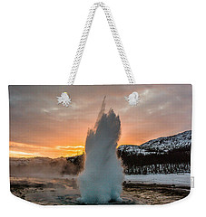 Strokkur Winter Blowup In Front Of Sunset Weekender Tote Bag