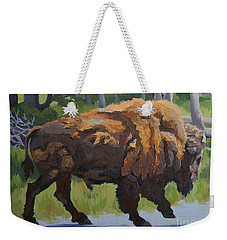 Weekender Tote Bag featuring the painting Strutting Along, Yellowstone by Erin Fickert-Rowland