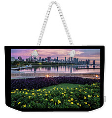 summer flowers and Chicago skyline Weekender Tote Bag
