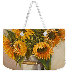 Weekender Tote Bag featuring the painting Sunflowers by Nina Mitkova