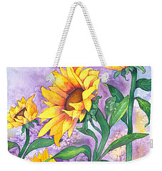 Weekender Tote Bag featuring the painting Sunny Sunflowers by Kristen Fox