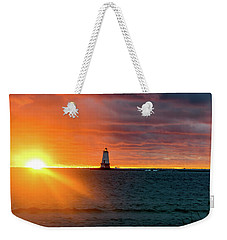 Sunset And Lighthouse Weekender Tote Bag