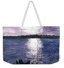 Weekender Tote Bag featuring the painting Sunset At Niagara River New York by Melly Terpening