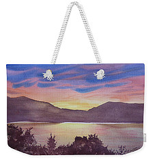 Weekender Tote Bag featuring the painting Sunset At Woodhead Campground by Joel Deutsch