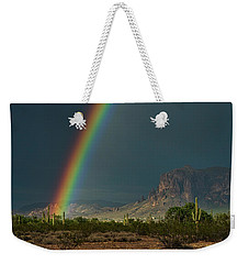 Weekender Tote Bag featuring the photograph Superstition Rainbow  by Saija Lehtonen