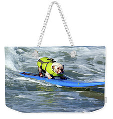 Weekender Tote Bag featuring the photograph Surfing Dog by Thanh Thuy Nguyen