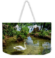 Swan In The Waterfalls Of Skradinski Buk At Krka National Park In Croatia Weekender Tote Bag