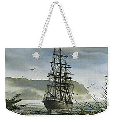 Weekender Tote Bag featuring the painting Tall Ship Cove by James Williamson