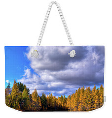 Weekender Tote Bag featuring the photograph Tamaracks At Woodcraft Camp by David Patterson