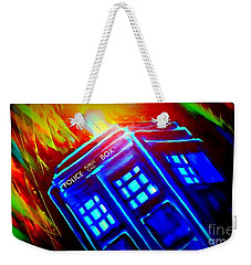 Weekender Tote Bag featuring the painting Tardis Watercolor Edition by Justin Moore