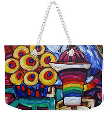 Weekender Tote Bag featuring the painting Teapot And Flowers by Dianne  Connolly