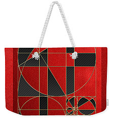 The Alchemy - Divine Proportions - Black On Red Weekender Tote Bag