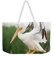 The Amazing American White Pelican  Weekender Tote Bag by Ricky L Jones