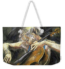 Weekender Tote Bag featuring the painting The Cellist by Debora Cardaci