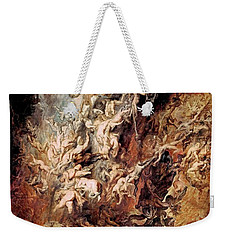 Weekender Tote Bag featuring the painting The Fall Of The Damned by Peter Paul Rubens