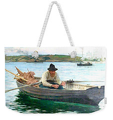 Weekender Tote Bag featuring the painting The Fisherman by Henry Scott Tuke