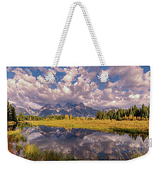 Weekender Tote Bag featuring the photograph The Grand Tetons National Park Autumn Olena Art Fall Colors Photography by OLena Art Brand