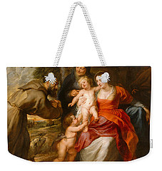 The Holy Family With Saints Francis And Anne And The Infant Saint John The Baptist Weekender Tote Bag by Peter Paul Rubens