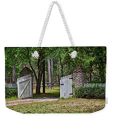 Weekender Tote Bag featuring the photograph The Open Gate by Linda Brown