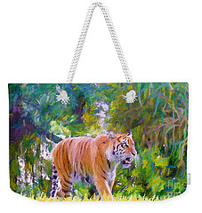 Weekender Tote Bag featuring the painting The  Prowler by Judy Kay