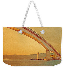 Weekender Tote Bag featuring the digital art The Skye Bridge And Kyleakin Lighthouse by Anthony Murphy