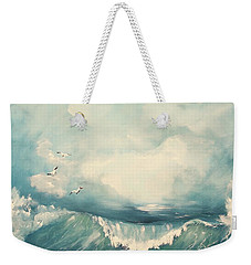 Weekender Tote Bag featuring the painting Tide by Miroslaw  Chelchowski