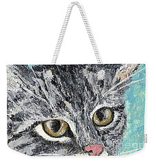 Weekender Tote Bag featuring the painting Tiger Cat by Reina Resto