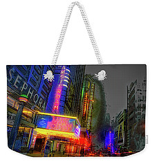 Weekender Tote Bag featuring the photograph Times Square by Theodore Jones