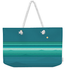 Weekender Tote Bag featuring the digital art Tropical Sea Moonrise by Val Arie