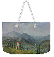 Weekender Tote Bag featuring the painting Tuscany Italy Olive Groves by Katalin Luczay