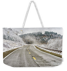 Weekender Tote Bag featuring the photograph Unexpected Autumn Snow Highland Scenic Highway by Thomas R Fletcher
