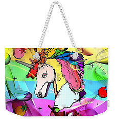 Weekender Tote Bag featuring the digital art Unicorn Popart By Nico Bielow by Nico Bielow