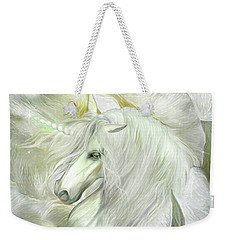 Weekender Tote Bag featuring the mixed media Unicorn Rose by Carol Cavalaris