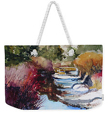 Weekender Tote Bag featuring the painting Up A Creek by Kris Parins