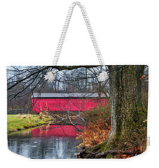 Weekender Tote Bag featuring the photograph Utica Covered Bridge by Mark Dodd