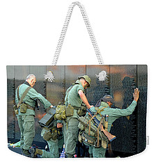 Veterans At Vietnam Wall Weekender Tote Bag by Carolyn Marshall