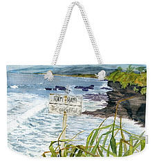 Weekender Tote Bag featuring the painting View From Tanah Lot Bali Indonesia by Melly Terpening