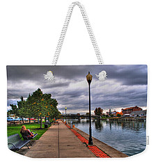 View Of Delaware Bridge At Erie Canal Harbor Weekender Tote Bag