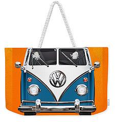 Volkswagen Type 2 - Blue And White Volkswagen T 1 Samba Bus Over Orange Canvas  Weekender Tote Bag