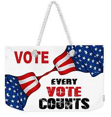Weekender Tote Bag featuring the digital art Vote - Every Vote Counts by Rafael Salazar