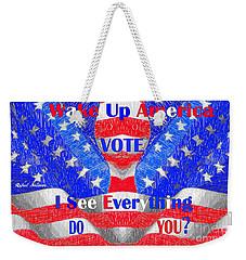 Weekender Tote Bag featuring the digital art Wake Up America  by Rafael Salazar