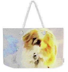 Weekender Tote Bag featuring the photograph Wasabi, Dog Painted. by Roger Bester